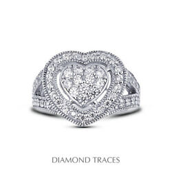 2 Ctw E Vs1 Round Cut Natural Certified Diamonds 14k Gold Halo Right Hand Ring
