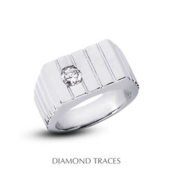 1/4 Carat F Si1 Round Brilliant Natural Certified Diamond 14k Gold Menand039s Ring