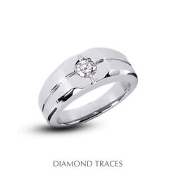 1 Carat H Si1 Round Cut Earth Mined Certified Diamond 14k Gold Classic Mens Ring