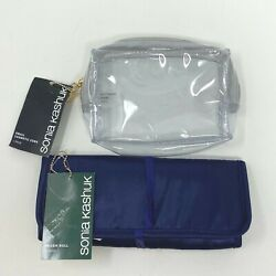 Sonia Kashuk Clear Cosmetic Bag and Navy Blue Brush Roll Two Piece Set New $18.95