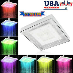 8 Inch Led 7 Colors Changing Square Shower Square Rainfall Shower Head Sprayer