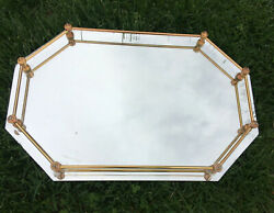 Vintage Dresser Vanity Mirror Tray Footed with Brass Rail 16quot; x 11quot;