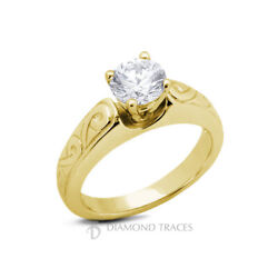 1ct H Si2 Round Natural Diamond 18k Vintage Style Solitaire Engagement Ring