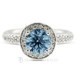 2.11ct Blue Si2 Round Earth Mined Certified Diamonds 14k Halo Engagement Ring