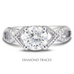 1.66ct F-si2 Round Earth Mined Certified Diamonds 18k Vintage Style Accent Ring