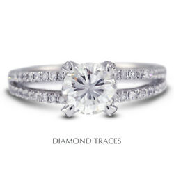 1 3/4 Ct H Si1 Round Cut Earth Mined Certified Diamonds 18k Gold Side Stone Ring