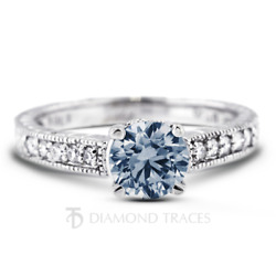 0.80ct Blue Si1 Round Natural Diamonds Plat Vintage Style Engagement Ring