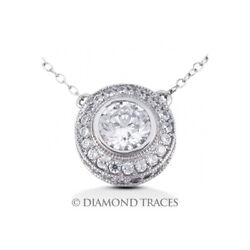1 1/4 Ctw G Si1 Round Cut Earth Mined Certified Diamonds 14k Gold Halo Pendant