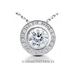 1 1/2 Ctw H Si2 Round Cut Earth Mined Certified Diamonds 950 Plat. Halo Pendant