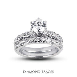 1.48ct D-si1 Round Natural Diamonds 18k Vintage Style Ring With Wedding Band