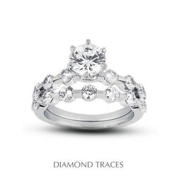 1.79ct H-si1 Round Natural Certified Diamonds 14k Classic Engagement Ring Set