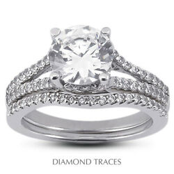 1 1/4ct E Vs2 Round Natural Diamonds 14k Vintage Style Ring With Wedding Band