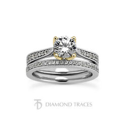 0.91 Ctw F-si1 Round Cut Natural Certified Diamonds 18k Gold Engagement Ring Set