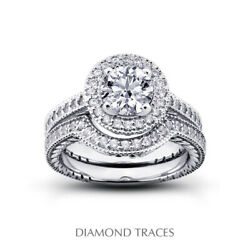 0.95ct D-vs2 Round Natural Certified Diamonds 18k Gold Halo Engagement Ring Set