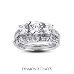 1 1/2ct H Si1 Round Natural Diamonds 14k Vintage Style Ring With Wedding Band