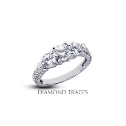 1.88ct F-si3 Round Natural Diamonds 950 Plat. Vintage Style 3-stone Ring