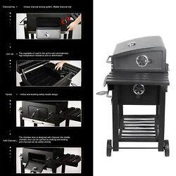 Large Barrel Smoker Barbecue Bbq Outdoor Charcoal Portable Grill Garden Wheels