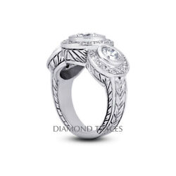 1.64ct I-si1 Round Natural Certified Diamonds 18k Vintage Style Engagement Ring