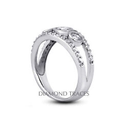 1 1/2ct F Si1 Round Natural Diamonds 18k Vintage Style Engagement Ring