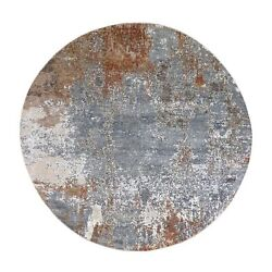 8and039x8and039 Hi-low Pile Denser Weave Hand Knotted Wool And Silk Round Rug R66439
