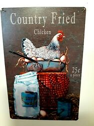 Farmhouse Chicken Tin Sign Country Fired Chicken Baking Cooking Decor NEW