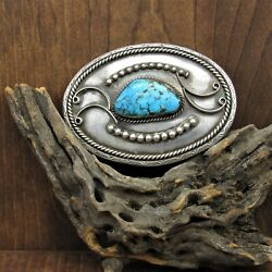 Vintage Sterling Silver Turquoise Belt Buckle By J. L. Nelson
