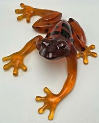 Kittys Critters Transparent Resin Orange Frog Figurine Rare Limited Edition
