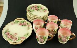 Collectible Majolica Takahashi San Francisco Cups, Dessert Plates Andtray Flower