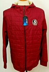 New Florida State Seminoles Fsu Colosseum Quilted Full Zip Hooded Jacket Men's L