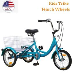 Kids Tricycle 14inch 3 Wheel Balance Bike Cruiser Trike Sport Bicycle W/ Basket