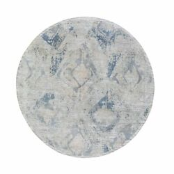 6and0391x6and0391 Large Elements With Pastels Round Silk With Textured Wool Rug R66486