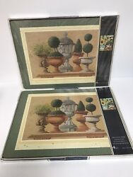 8 Pimpernel Placemats Topiary With Garden Urns 2 Sets Of 4 Each