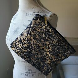 Leather Clutch Pouch Bag Navy Blue Gold Medium $15.00