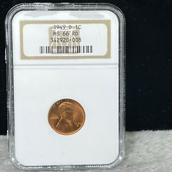 1949-d Brilliant Uncirculated Lincoln Wheat Penny Ngc Ms 66 Rd 008