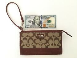 COACH CLUTCH BROWN SIGNATURE Wristlet Wallet CANVAS LEATHER TRIM VINTAGE $22.00
