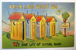 Outhouse Postcard Come Visit Us Lots Sitting Room Fido Welcom All Pc Linen 2351