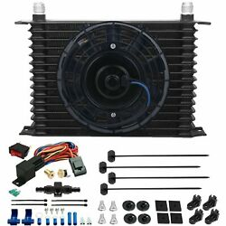 15 Row Engine Trans-mission Oil Cooler Fan 10an Hose 180'f Thermostat Switch Kit
