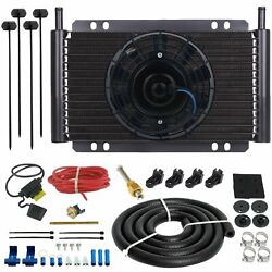 15 Row Trans-mission Oil Cooler Fan Push Probe 180f Thermostat Switch Wiring Kit