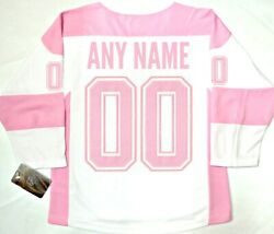 Nwt Any Name And Number Montreal Canadiens Girls Youth L/xl Pink Nhl Jersey