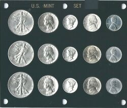 1943 P-d-s Us Mint Set -15 Choice Bu Coins In Black Capital Holder