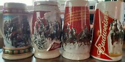 Budweiser Beer Stein Clydesdales Collectibles - Lot Of 4 1993, 2012, 2013, 2015