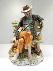 Extra Large Vintage Capodimonte Italy Figurine the Bum Hobo On Bench $125.00