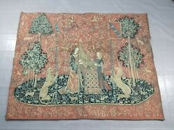Vintage French Medieval Scene Wall Hanging Tapestry With Certificate 164x127cm