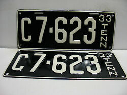 1933 Tennessee License Plate C7 - 623  Pair  Truck Tag Vintage As4111