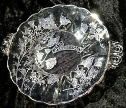Vintage 25th Anniversary Clear Glass Handled Serving Plate With Silver Overlay