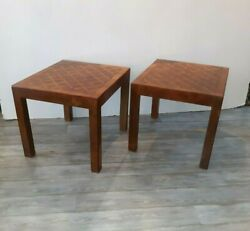Pair Mid Century Modern Italian Marquetry Side Tables