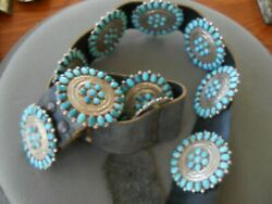 Southwestern Native American Turquoise Cluster Sterling Silver Concho Belt