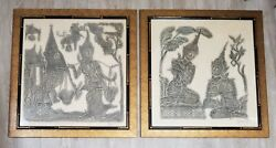 Pair Of Signed Thai Temple Art Charcoal Rubbing On Rice Paper Bamboo Framed