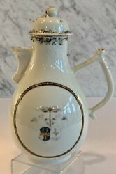 Early Antique Chinese Export Armorial Grisaille Cherub Coffee Tea Pot Pitcher