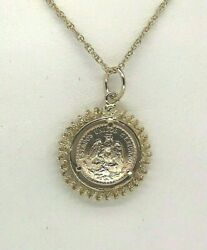 18k Yellow Gold Spiral Frame 1945 2 Pesos .900 Gold Coin W/ 18andrdquo 14k Gold Chain